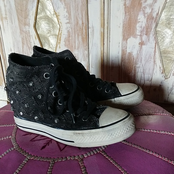 2876edbab83f43 Converse Shoes - Sz 6 Converse studded wedge tennis shoes
